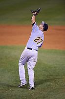 Trenton Thunder first baseman Dan Fiorito (27) during a game against the Binghamton Mets on May 29, 2016 at NYSEG Stadium in Binghamton, New York.  Trenton defeated Binghamton 2-0.  (Mike Janes/Four Seam Images)