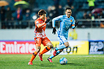 Jeju United FC Forward Hwang Ilsu (L) in action against Jiangsu FC Midfielder Wu Xi (R) during the AFC Champions League 2017 Group H match between Jeju United FC (KOR) vs Jiangsu FC (CHN) at the Jeju World Cup Stadium on 22 February 2017 in Jeju, South Korea. Photo by Marcio Rodrigo Machado / Power Sport Images