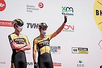 Nathan van Hooydonck (BEL/Jumbo-Visma) & Wout van Aert (BEL/Jumbo-Visma) at full duo-force at the team presentation at the race start in the Waregem Hippodrome <br /> <br /> Belgian National Championships 2021 - Road Race<br /> <br /> One day race from Waregem to Waregem (221km)<br /> <br /> ©kramon