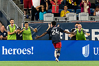 FOXBOROUGH, MA - AUGUST 18: DeJuan Jones #24 of New England Revolution celebrates his goal with teammates during a game between D.C. United and New England Revolution at Gillette Stadium on August 18, 2021 in Foxborough, Massachusetts.
