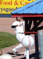 Binghamton Mets outfielder Juan Lagares #13 catches a fly ball during a game against the Akron Aeros at NYSEG Stadium on April 7, 2012 in Binghamton, New York.  Binghamton defeated Akron 2-1.  (Mike Janes/Four Seam Images)
