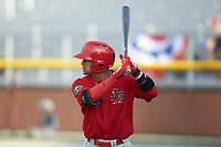 Benito Santiago (31) of the Johnson City Cardinals at bat against the Burlington Royals at Burlington Athletic Stadium on July 15, 2018 in Burlington, North Carolina. The Cardinals defeated the Royals 7-6.  (Brian Westerholt/Four Seam Images)