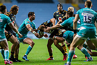 21st August 2020; Ricoh Arena, Coventry, West Midlands, England; English Gallagher Premiership Rugby, Wasps versus Worcester Warriors; Ben Vellacott of Wasps runs into Francois Venter of Worcester Warriors during the Gallagher Premiership Rugby match between Wasps and Worcester Warriors