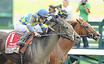 Emma's Encore, ridden by Junior Alvarado, winning the Prioress Stakes on Whitney Handicap Day at Saratoga Race Course in Saratoga Springs, New York on August 4, 2012