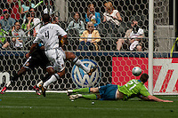 Nate Jaqua of the Seattle Sounders just misses  a score at Quest Field on May 10, 2009. The Sounders and Galaxy played to a 1-1 draw.