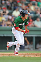 Bryan Hudson (18) of the Greenville Drive bats in a game against the Charleston RiverDogs on Sunday, August 16, 2015, at Fluor Field at the West End in Greenville, South Carolina. Charleston won, 6-2. (Tom Priddy/Four Seam Images)