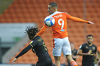 Blackpool's Jerry Yates vies for possession with Milton Keynes Dons' David Kasumu<br /> <br /> Photographer Kevin Barnes/CameraSport<br /> <br /> The EFL Sky Bet League One - Blackpool v Milton Keynes Dons - Saturday 24 October 2020 - Bloomfield Road - Blackpool<br /> <br /> World Copyright © 2020 CameraSport. All rights reserved. 43 Linden Ave. Countesthorpe. Leicester. England. LE8 5PG - Tel: +44 (0) 116 277 4147 - admin@camerasport.com - www.camerasport.com