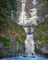 Multnomah Falls with ice in Columbia River Gorge Oregon