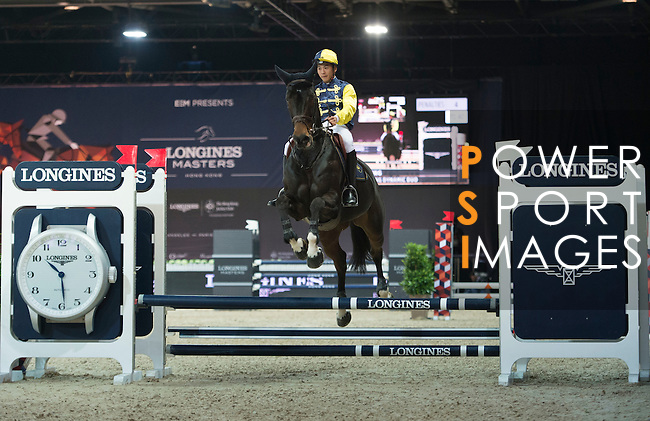 Derek Leung during the HKJC Race of the Rider during the Longines Masters of Hong Kong on 19 February 2016 at the Asia World Expo in Hong Kong, China. Photo by Li Man Yuen / Power Sport Images
