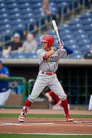 Clearwater Threshers right fielder Simon Muzziotti (12) at bat during a Florida State League game against the Dunedin Blue Jays on April 4, 2019 at Spectrum Field in Clearwater, Florida.  Dunedin defeated Clearwater 11-1.  (Mike Janes/Four Seam Images)