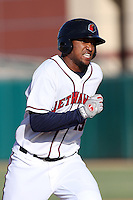 Domingo Santana #13 of the Lancaster JetHawks runs the bases against the Lake Elsinore Storm at Clear Channel Stadium on May 11, 2012 in Lancaster,California. (Larry Goren/Four Seam Images)