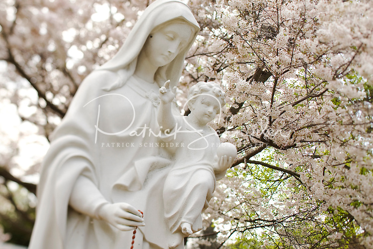 Religious statue of the Virgin Mary near the Basilica of Belmont Abbey in Belmont, NC.