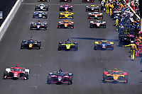 30th May 2021, Indianapolis, Indiana, USA;  NTT Indy Car Series driver Helio Castroneves (66) pulls away from the grid for the start during the 105th running of the Indianapolis 500 on May 30, 2021 at the Indianapolis Motor Speedway in Indianapolis, Indiana.