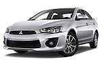 Stock pictures of low aggressive front three quarter view of 2016 Mitsubishi Lancer Intense 4 Door Sedan Low Aggressive