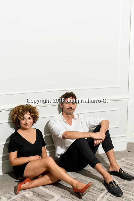 Anna R. Costa and Paco Leon pose for a portrait session during 66th San Sebastian International Film Festival at Maria Cristina Hotel on September 27, 2018 in San Sebastian, Spain