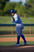 AZL Royals starting pitcher Heribert Garcia (29) checks a runner at first base during an Arizona League game against the AZL White Sox at Camelback Ranch on June 19, 2019 in Glendale, Arizona. AZL White Sox defeated AZL Royals 4-2. (Zachary Lucy/Four Seam Images)