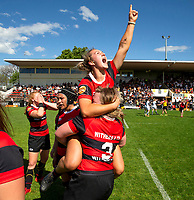 Canterbury celebrates winning the 2020 Farah Palmer Cup women's rugby final between Canterbury and Waikato at Rugby Park in Christchurch, New Zealand on Saturday, 31 October 2020. Photo: Martin Hunter / lintottphoto.co.nz