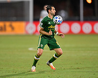LAKE BUENA VISTA, FL - JULY 18: Diego Valeri #8 of the Portland Timbers settles the ball off his chest during a game between Houston Dynamo and Portland Timbers at ESPN Wide World of Sports on July 18, 2020 in Lake Buena Vista, Florida.