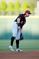 Rochester Red Wings shortstop Drew Maggi (5) on defense against the Charlotte Knights at BB&T BallPark on May 14, 2019 in Charlotte, North Carolina. The Knights defeated the Red Wings 13-7. (Brian Westerholt/Four Seam Images)