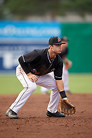Batavia Muckdogs third baseman Bubba Hollins (24) during a game against the Lowell Spinners on July 16, 2018 at Dwyer Stadium in Batavia, New York.  Lowell defeated Batavia 4-3.  (Mike Janes/Four Seam Images)