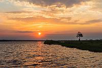 Africa, Botswana, Kasane, Sunset on the Chobe River.