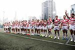 Japan National Rugby Team celebrating after winning Hong Kong during the Asia Rugby Championship 2017 match between Hong Kong and Japan on May 13, 2017 in Hong Kong, China. Photo by Marcio Rodrigo Machado / Power Sport Images