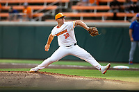 Tennessee Volunteers starting pitcher Chad Dallas (36) delivers a pitch to the plate against the Florida Gators on Robert M. Lindsay Field at Lindsey Nelson Stadium on April 9, 2021, in Knoxville, Tennessee. (Danny Parker/Four Seam Images)