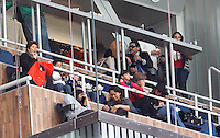 MADRI, ESPANHA, 02 MARÇO 2013 - CAMPEONATO ESPANHOL - REAL MADRID X BARCELONA - O ex jogador Diego Maradona assiste a partida entre Barcelona e Real Madrid em partida pela 26 rodada do Campeonato Espanhol, no estadio Santiago Bernabeu em Madri capital da Espanha neste sabado, 02. (FOTO: ALEX CID-FUENTES / ALFAQUI / BRAZIL PHOTO PRESS).