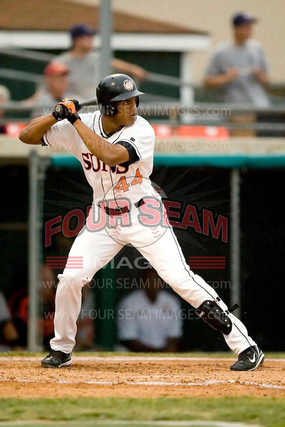 Hagerstown right fielder Justin Maxwell (44) at bat versus Delmarva at Municipal Stadium in Hagerstown, MD, Monday, May 14, 2007