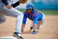 South Bend Cubs left fielder Kevonte Mitchell (25) slides into third base during a game against the Kane County Cougars on May 3, 2017 at Four Winds Field in South Bend, Indiana.  South Bend defeated Kane County 6-2.  (Mike Janes/Four Seam Images)