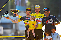 18th July 2021; Paris, France;  VINGEGAARD Jonas (DEN) of JUMBO-VISMA, CARAPAZ Richard (ECU) of INEOS GRENADIERS, POGACAR Tadej (SLO) of UAE TEAM EMIRATES podium after stage 21 of the 108th edition of the 2021 Tour de France cycling race, the stage of 108,4 kms between Chatou and finish at the Champs Elysees in Paris.