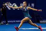 Barbora Strycova of Czech Republic hits a return during the singles Round Robin match of the WTA Elite Trophy Zhuhai 2017 against Anastasija Sevastova of Latvia at Hengqin Tennis Center on November  02, 2017 in Zhuhai, China.Photo by Yu Chun Christopher Wong / Power Sport Images