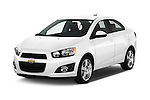 2016 Chevrolet Sonic LTZ 4 Door Sedan Angular Front stock photos of front three quarter view