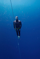 "Bjarte Nygaard ascending from DNF dive. Freediving competition ""Bizzy Blue Hole""  in Dahab,Sinai in Egypt. © Fredrik Naumann/Felix Features"