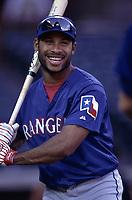 Ruben Mateo of the Texas Rangers during a 2000 season MLB game at Angel Stadium in Anaheim, California. (Larry Goren/Four Seam Images)