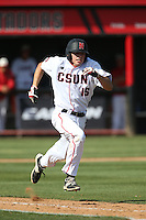 Justin Toerner (15) of the Cal State Northridge Matadors runs to first base during a game against the UC Santa Barbara Gouchos at Matador Field on April 10, 2015 in Northridge, California. UC Santa Barbara defeated Cal State Northridge, 7-4. (Larry Goren/Four Seam Images)