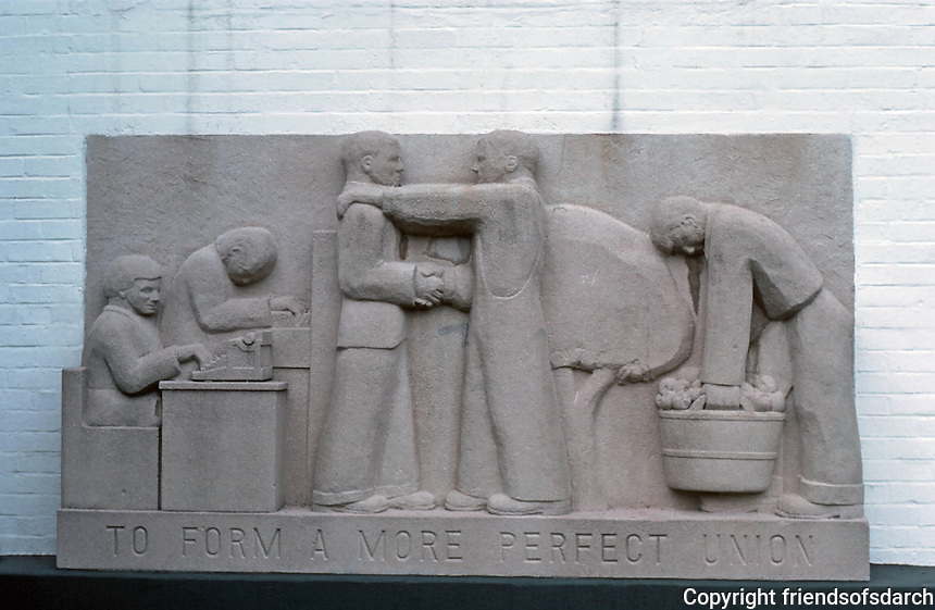 Greenbelt:  Elementary School--Bas Relief, a WPA project.  Photo '85.