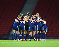 21st September 2021; Hampden Park, Glasgow, Scotland: FIFA Womens World Cup qualifying, Scotland versus Faroe Islands; Scotland huddle up before the match