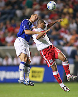 Chicago Fire forward Andy Herron (26) and Everton FC defender Phil Jagielka (6) go up for a header.  The Chicago Fire defeated English Premier League Team Everton FC 2-0 in a friendly match at Toyota Park in Bridgeview, IL, on July 30, 2008.