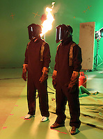 Pictured L-R: Jack Cork and Kyle Naughton 01 April 2015<br /> Re: Behind the scenes at the Swansea City FC kit launch video shoot at Bay Studios.