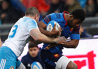 Rugby, Torneo Sei Nazioni: Italia vs Francia. Roma, stadio Olimpico, 15 marzo 2015.<br /> France's Noa Nakaitaci, right, is challenged by Italy's Dario Chistolini during the Six Nations championship rugby match between Italy and France at Rome's Olympic stadium, 15 March 2015.<br /> UPDATE IMAGES PRESS/Riccardo De Luca