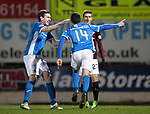 St Johnstone v Hearts…05.04.17     SPFL    McDiarmid Park<br />Joe Shaughnessy celebrates his goal with Blair Alston<br />Picture by Graeme Hart.<br />Copyright Perthshire Picture Agency<br />Tel: 01738 623350  Mobile: 07990 594431