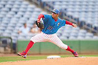 Clearwater Threshers pitcher Rafael Marcano (57) during a game against the Fort Myers Mighty Mussels on July 29, 2021 at BayCare Ballpark in Clearwater, Florida.  (Mike Janes/Four Seam Images)