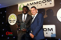 Pictured: Bafetimbi Gomis receiving the top goalscorer award Wednesday 20 May 2015<br /> Re: Swansea City FC Awards Dinner at the Liberty Stadium, south Wales, UK