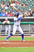 Tennessee Smokies shortstop Vimael Machin (1) awaits a pitch during a game against the Birmingham Barons at Smokies Stadium on May 15, 2019 in Kodak, Tennessee. The Smokies defeated the Barons 7-3. (Tony Farlow/Four Seam Images)