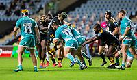 21st August 2020; Ricoh Arena, Coventry, West Midlands, England; English Gallagher Premiership Rugby, Wasps versus Worcester Warriors; Cornell Du Preez of Worcester Warriors tackles James Gaskell of Wasps