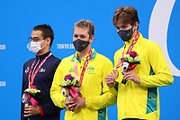 25th August 2021; Tokyo, Japan; Silver medalist DIDIER Ugo (FRA), gold medalist MARTIN William (AUS), and bronze medalist TUCKFIELD Alexander (AUS) celebrate on the podium for the Swimming : Men's 400m Freestyle - S9 Final - Medal Ceremony on August 25, 2021 during the Tokyo 2020 Paralympic Games at the Tokyo Aquatics Centre in Tokyo, Japan.