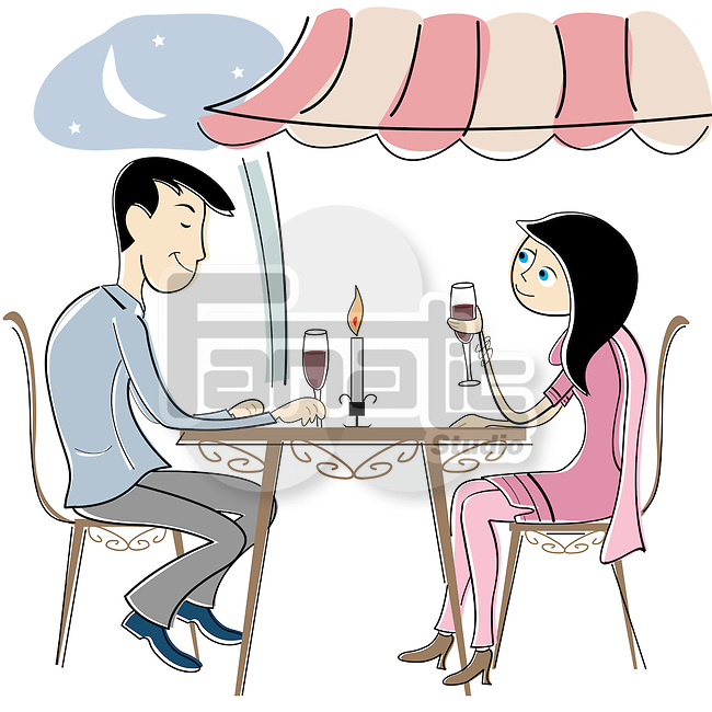Couple having candlelight dinner in a restaurant
