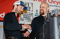 The Nome Kennel Club Fastest Time from Safety to Nome is presented by Rolland Trowbridge, Nome Kennel Club to Nicolas Petit<br />  at the Nome Musher's Award Banquet during the 2017 Iditarod on Sunday March 19, 2017.<br /> <br /> Photo by Jeff Schultz/SchultzPhoto.com  (C) 2017  ALL RIGHTS RESERVED