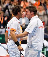 07-04-12, Netherlands, Amsterdam, Tennis, Daviscup, Netherlands-Rumania, Dubbels, Igor Sijsling en Jean-Julien Rojer(L) winnen de dubbel en maken 3-0